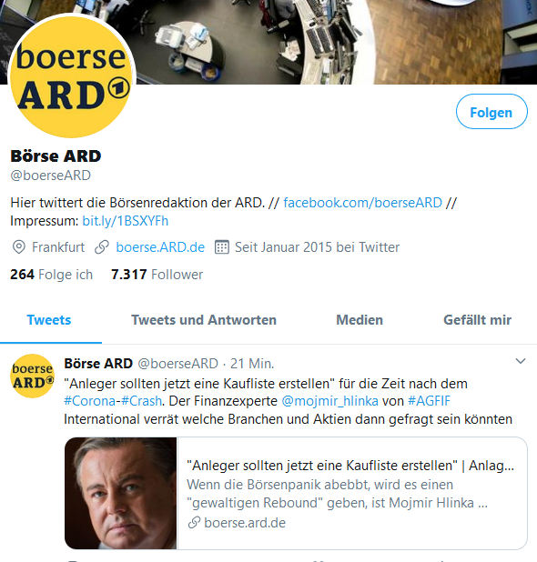 ARD BOERSE ONLINE MARCH 2020